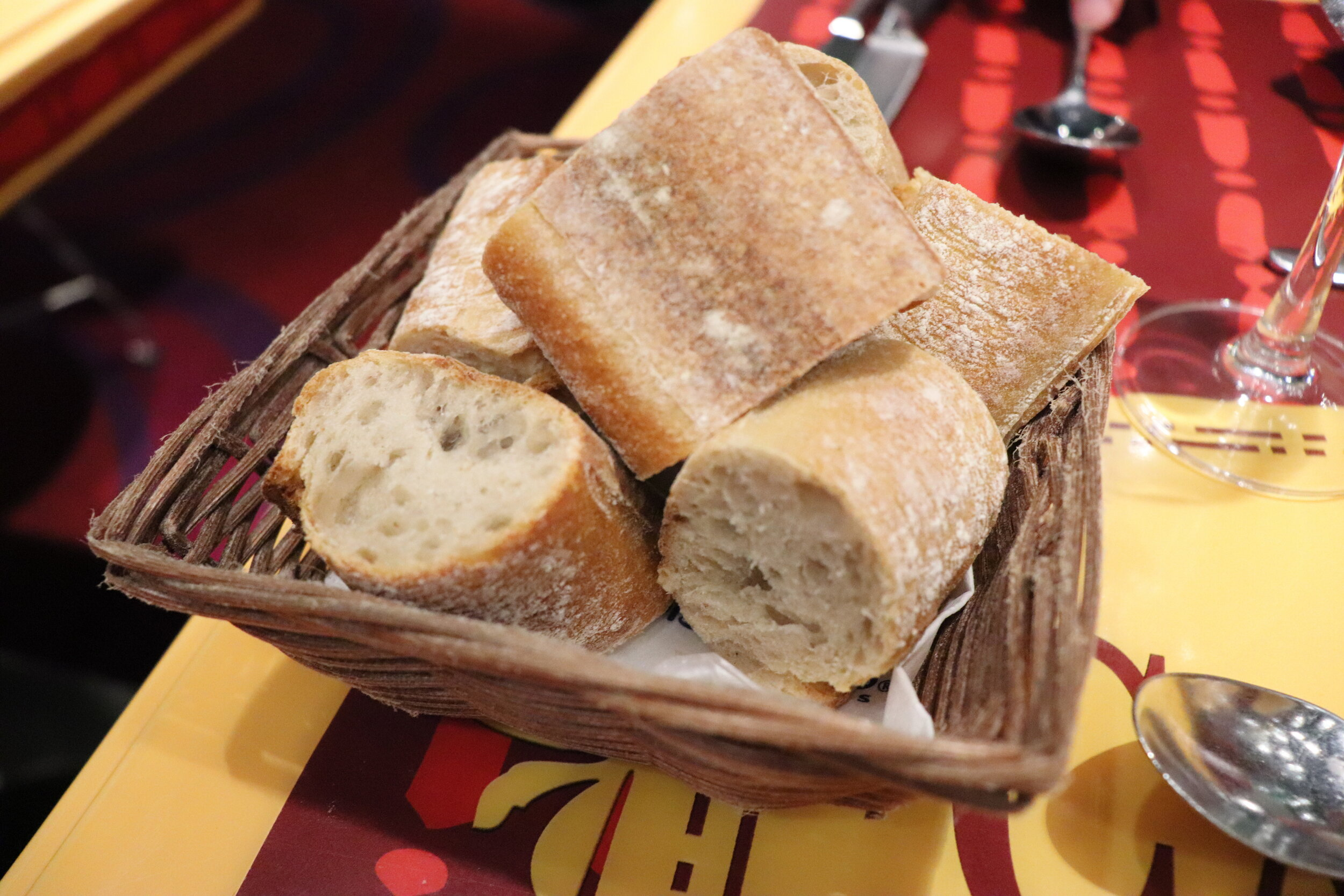 A simple french baguette with the meal.