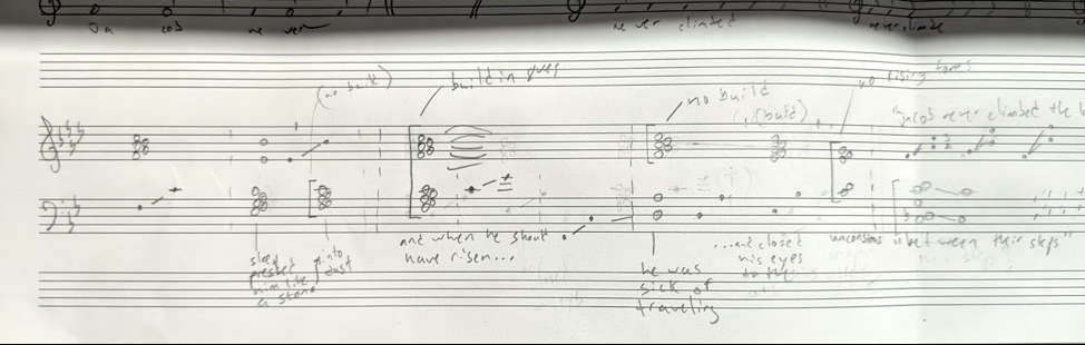 """My harmonic sketch of the first ~2/3 of """"The Burning Ladder,"""" finalized after many drafts."""