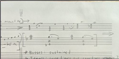 A short harmonic outline of the climax of the piece, which stayed more-or-less the same throughout different sketches.