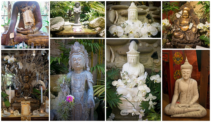 Some of the beautiful vintage Buddha's at Sacred Space