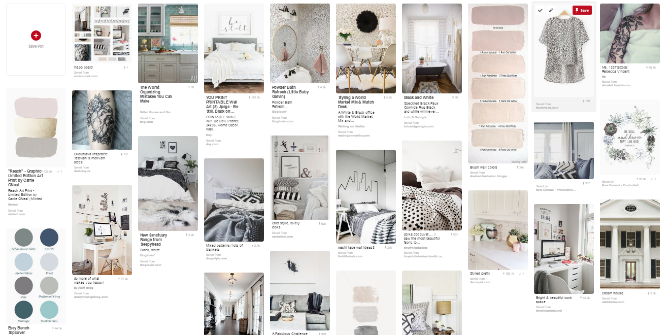 Example Pinterest Inspiration Board for the Nora Conrad Branding