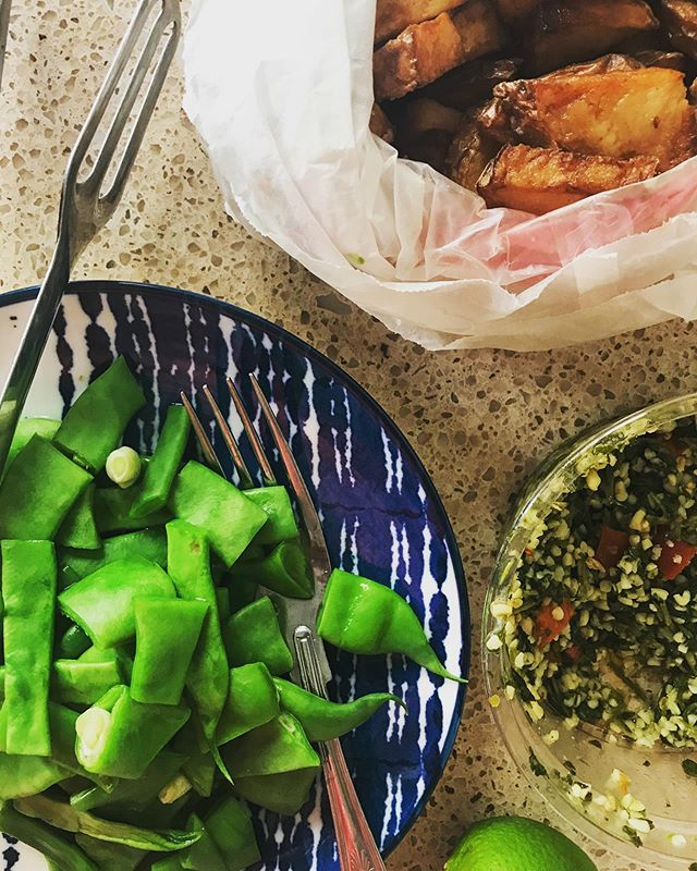 Tonight's dinner was a mash-up of leftover street food potatoes, shuk tabouleh, and steamed Romano beans. Somehow it all worked out! Have you made a meal that was delicious from bits and pieces in your fridge? Comment below on what you made!