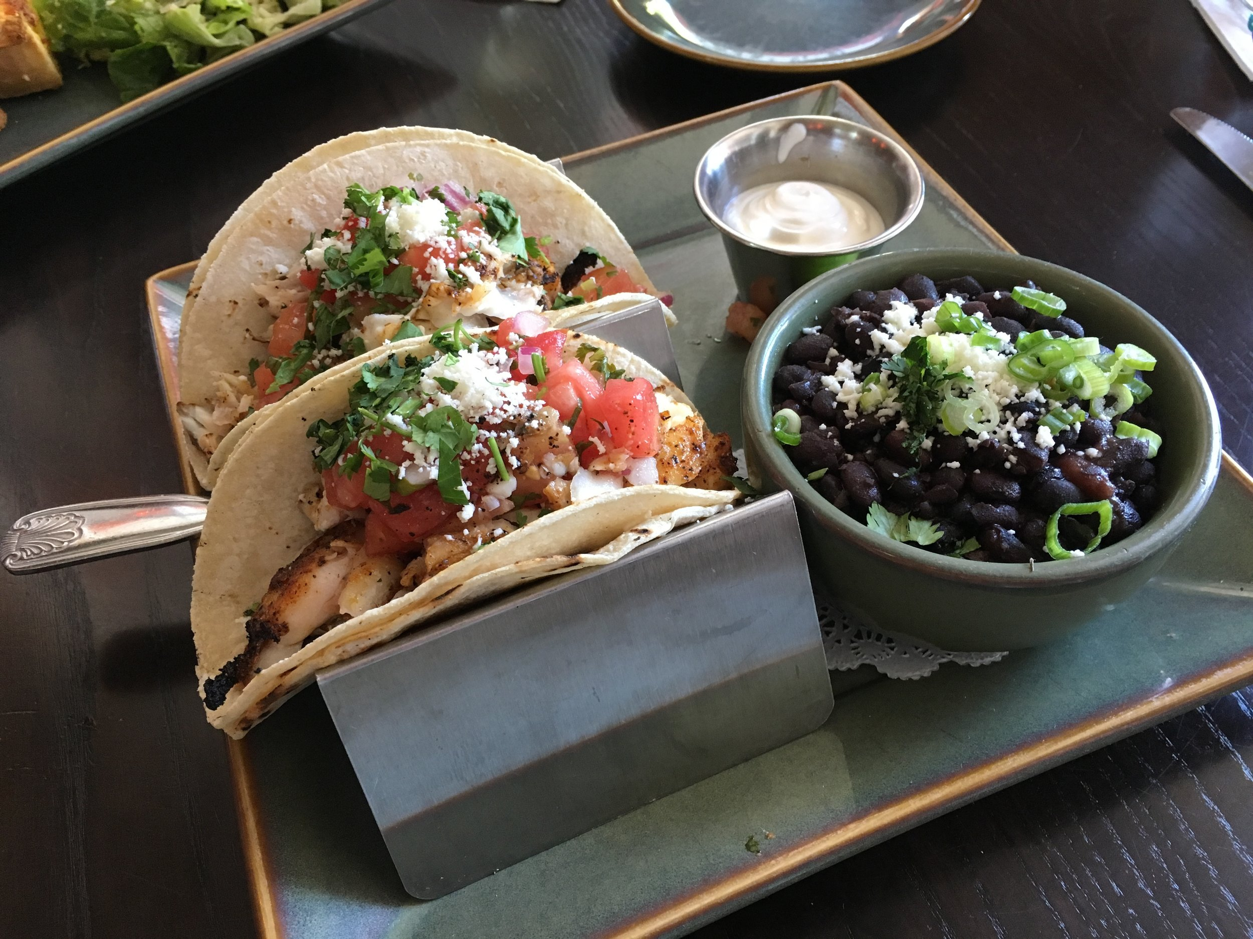 Blackened grouper tacos with black beans