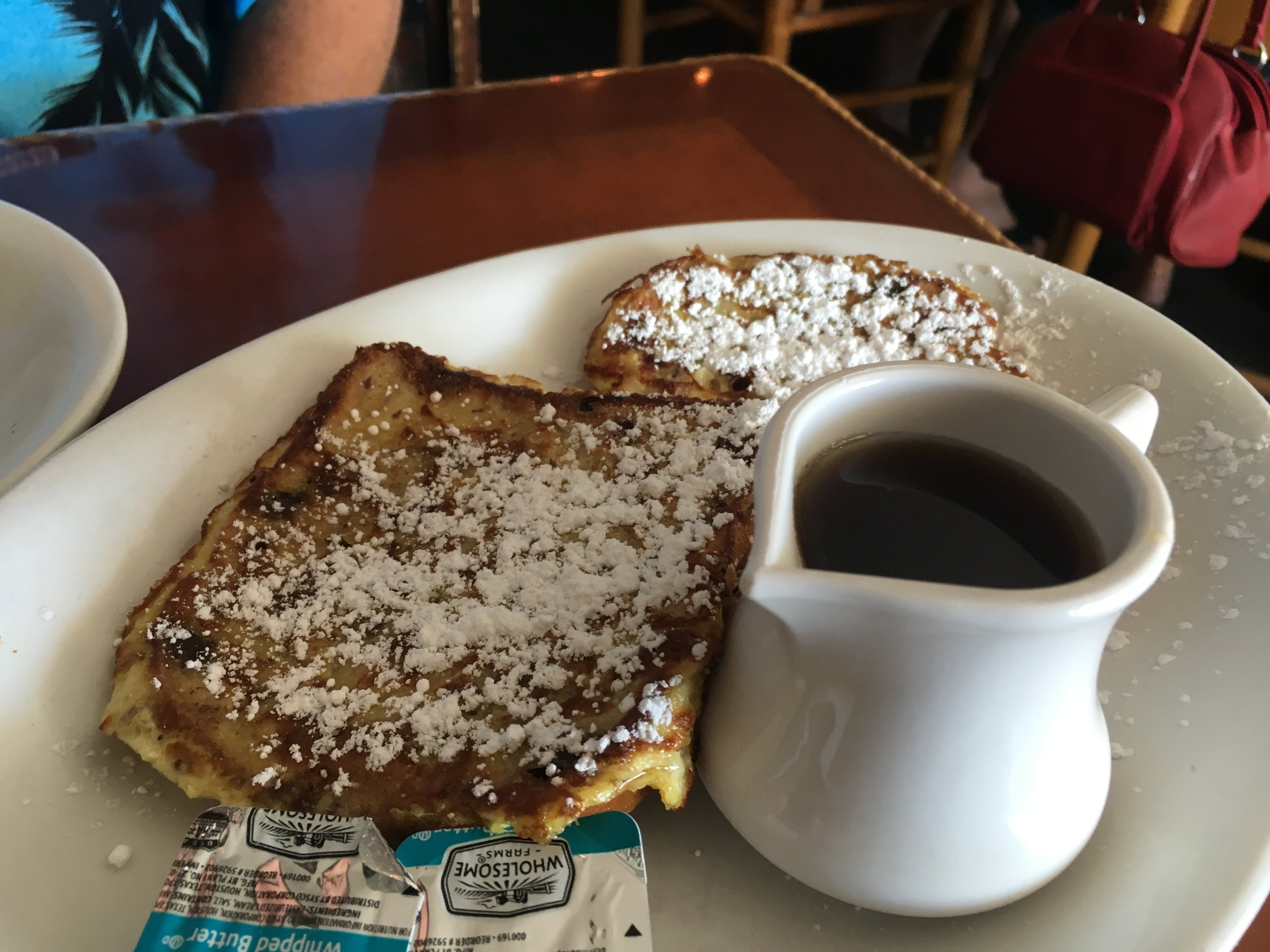 "1/2 order of the Cinnamon & Raisin French Toast.  I can only describe this as ""just like mom use to make"".  It was very tasty and brought back memories!"