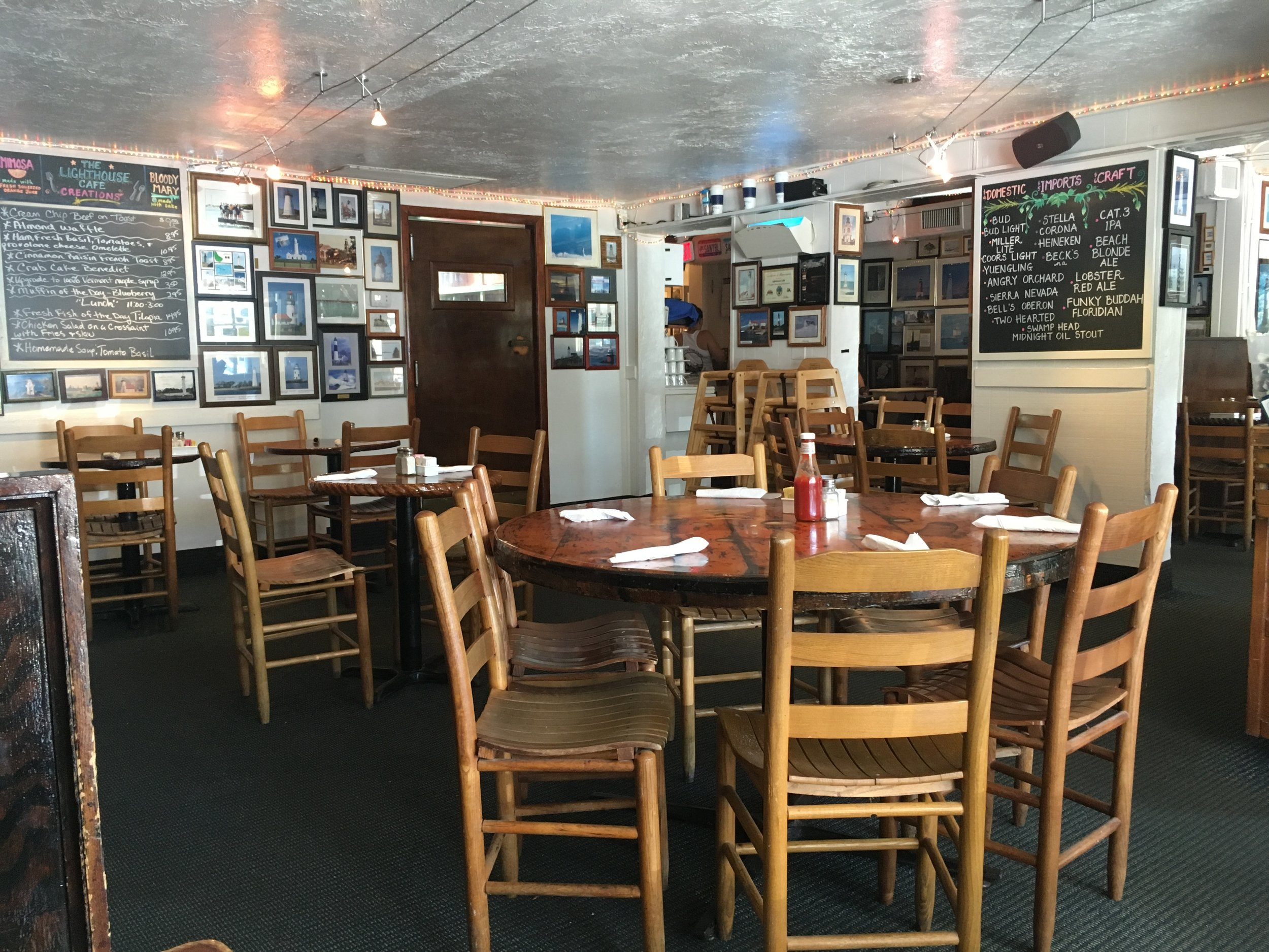 The restaurant is small with about 20 tables of all shapes and sizes.  The walls showcase lighthouses from all over the world that people have sent in.  Very unique.  The staff is very friendly and accommodating.