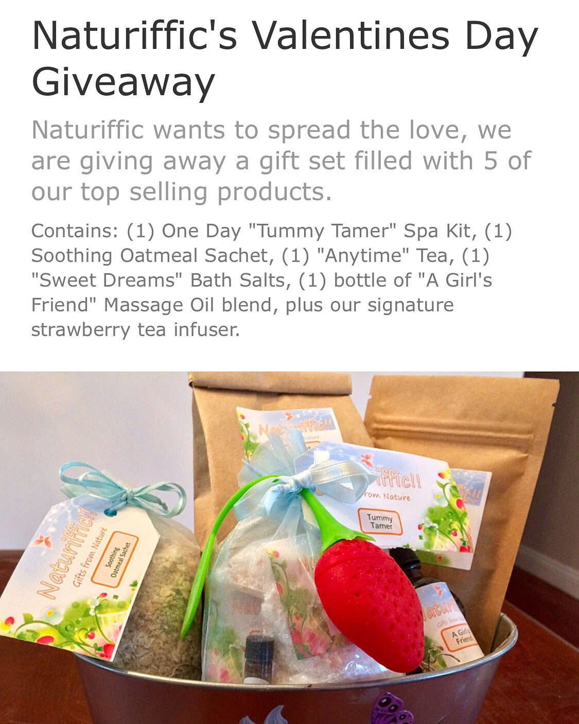 Loose leaf teas, spa kit, bath salts, oatmeal soothing sachet, & massage oils make up this prize!!!!!