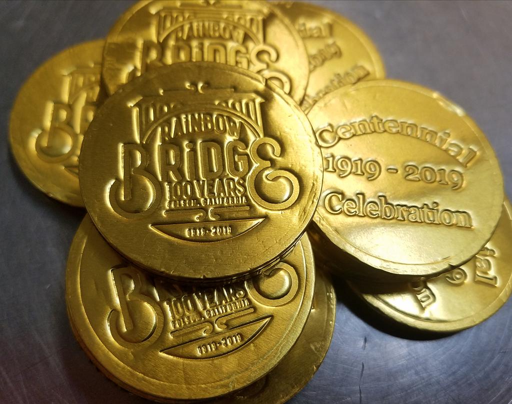 """Snook's Candies & Chocolates - 731 Sutter St, Folsom, CAChocolate Bridge """"coins"""""""