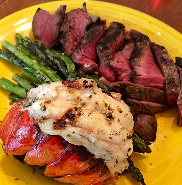 Sirloin cap from @vmillermeats and a grilled lobster tail seasoned with @naturiffic Garlicky Lemon 🍋