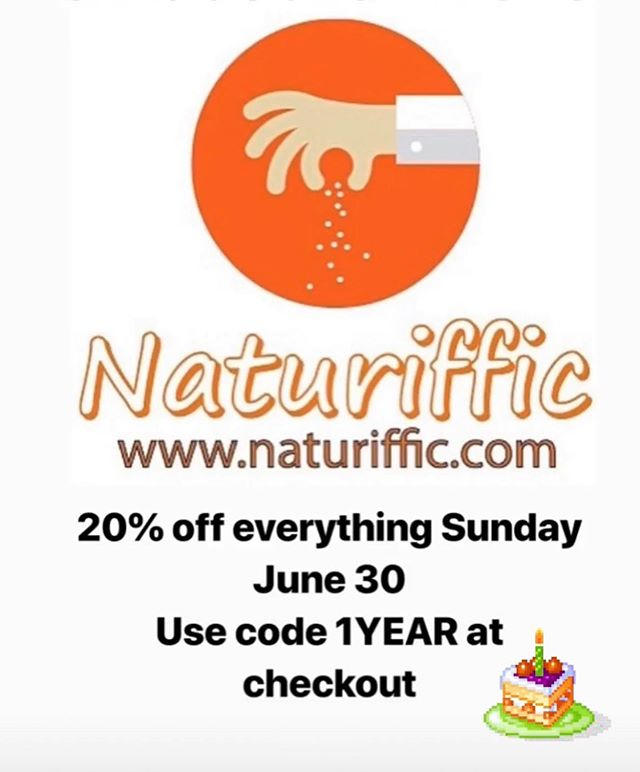 To celebrate the one year anniversary of their flagship store in downtown Folsom, @naturiffic is having a One Day Sale on June 30th!! Everything in our store and online will be 20% off!! That's Q-Salt, Hot Salt, Hot Wing Rub..all of it! Even our seasoned panko and loose leaf teas are included.  On June 30th, simply go to www.naturiffic.com and enter promo code: 1YEAR at checkout to get your discount.  Or visit our store in Folsom this Sunday. I will be grilling up wings to sample, so get there early (11am-4pm) before they are all gone!  This is the biggest sale we will have this summer, don't miss out!  #bbq #naturiffic #sale
