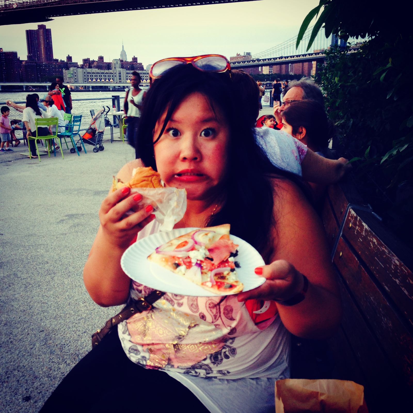 Shake Shack and Juliana's pizza AT THE SAME TIME at Brooklyn Bridge Park (above)    Rainbow Brite Cake (which our mom made) in my Rainbow Brite shirt in our old backyard (to the left)