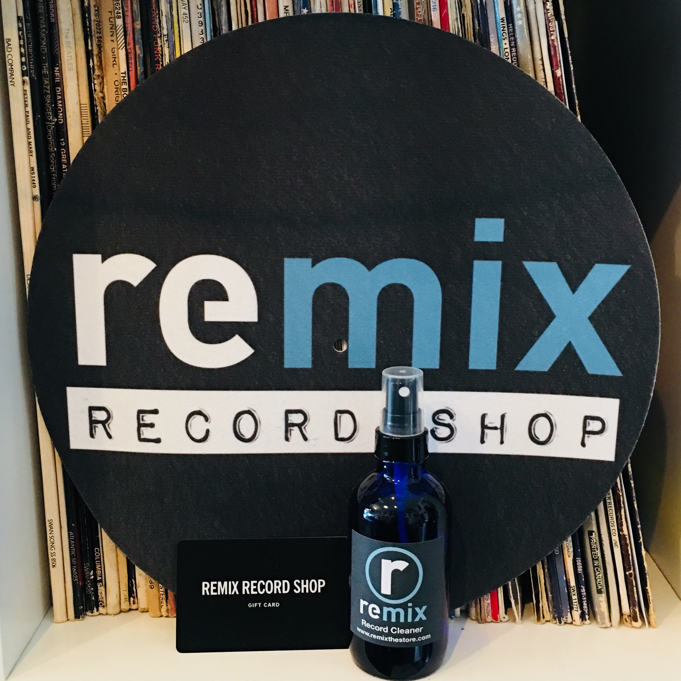 REMIX RECORD SHOP Stocking Stuffers  Need some stocking stuffers for Christmas? We can help! Give the gift of music with a REMIX RECORD SHOP gift card. REMIX Record Cleaner is always a great gift... after all, a clean record is a happy record. Finally, we have a variety of slipmats to make your turntable look cool! Come swing by the shop! We are open Monday - Saturday 11a - 7p.