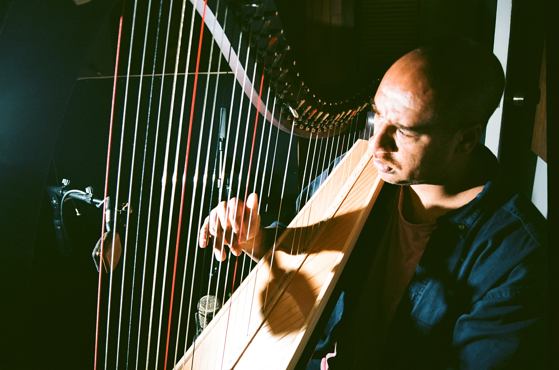 Harpist Christopher Lyles (Photo by Devin O'Brien)