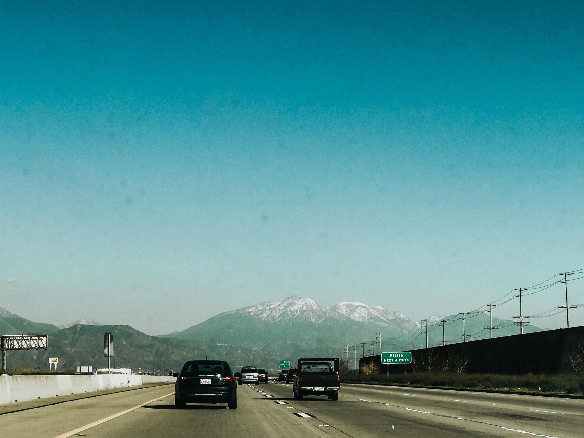 Headed through San Bernadino towards the snowy mountain tops.