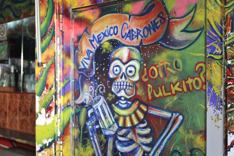 Above: Most imaginable surfaces of the pulquería, such as this door of the bathroom stalls by the entrance, are covered in graffiti that all have something to do with Mexico or pulque.