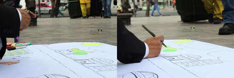 Above: The feet of the maintenance guys approaching Cesar as he draws unknowingly.