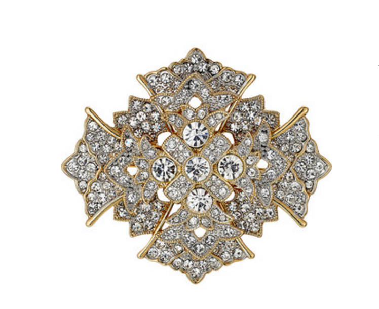 Kenneth Jay Lane Crystal Cross Brooch