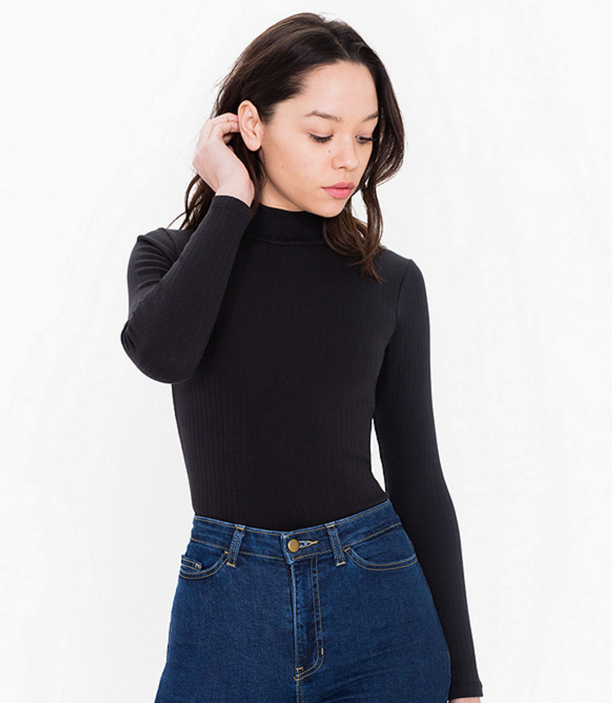 American Apparel Rib Long Sleeve Turtleneck Top