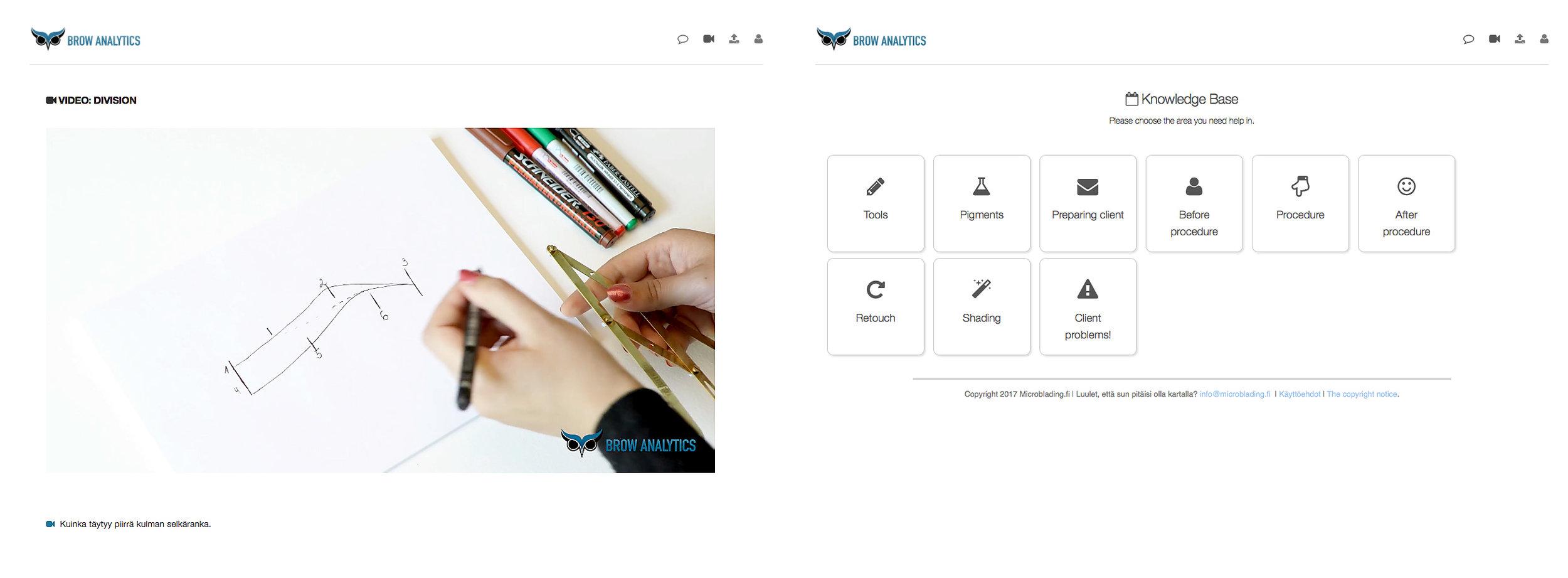 Lisäksi sisältää Brow Analytics ohjelma uusille oppilaille myös video osan ja kysymyksien ja vastauksien osan.