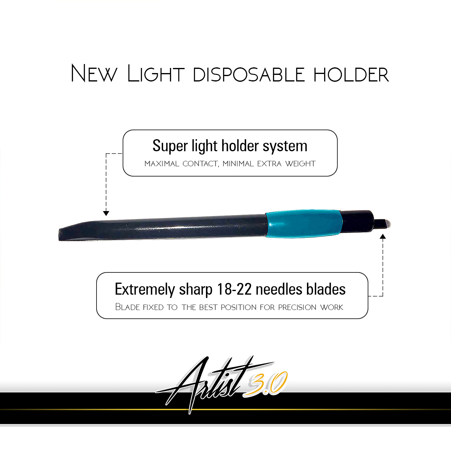 New disposable holder is much lighter than traditional ones. It allows to use totally different technique when making the strokes. The super-sharp new u-blade is fixed into the holder in the right depth and angle. This is what makes perfect light-microblading possible.
