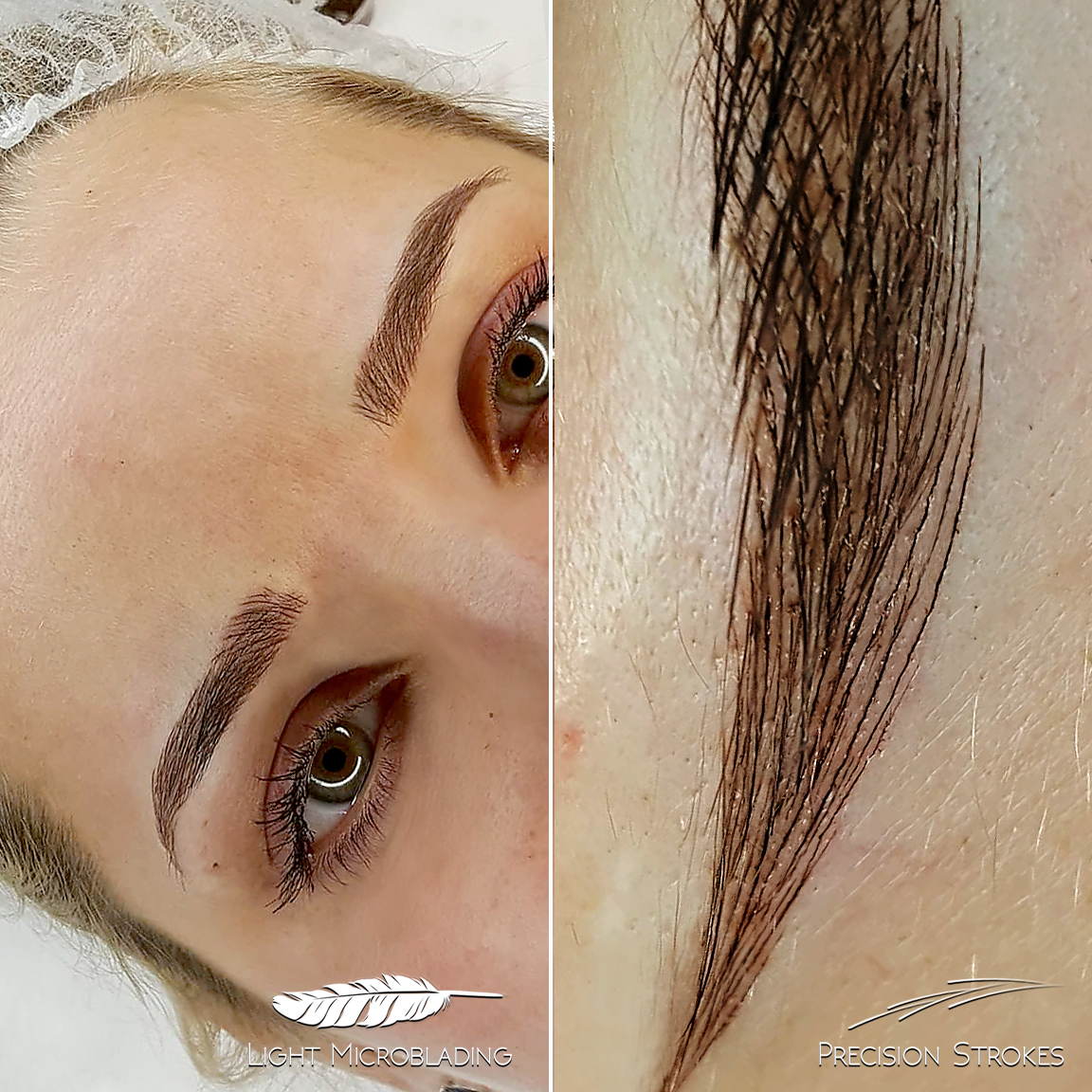 In this picture here you can see the technique behind the brow perfection. The stokes are extremely thin, sharp and precise. Using the new Light microblaing it is possible to take brow precision to the next level.