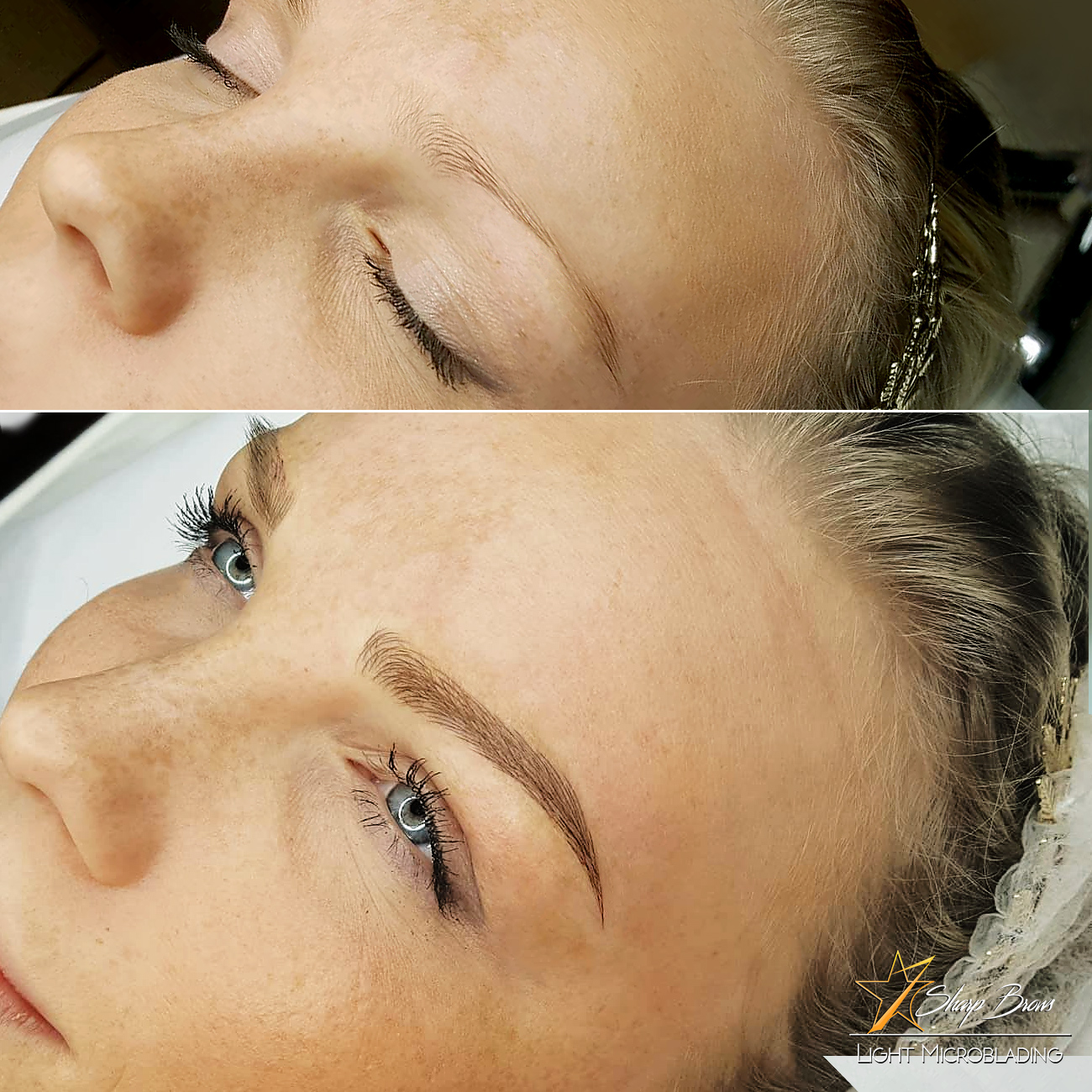 Light Microblading. A fine example once again, where a very thin naturally weak brow has been turned into attractive natural-looking strong brow.