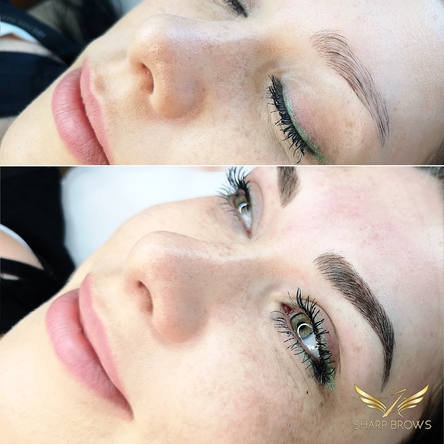 Light microblading. This beautiful woman became even more beautiful with Light microblading.