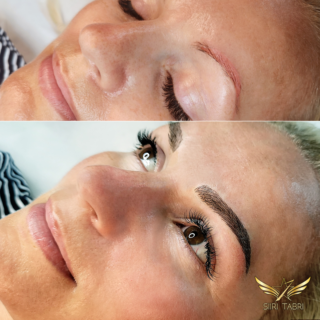 Light microblading. A sample from the master Siiri Tabri herself. Incredible transformation.