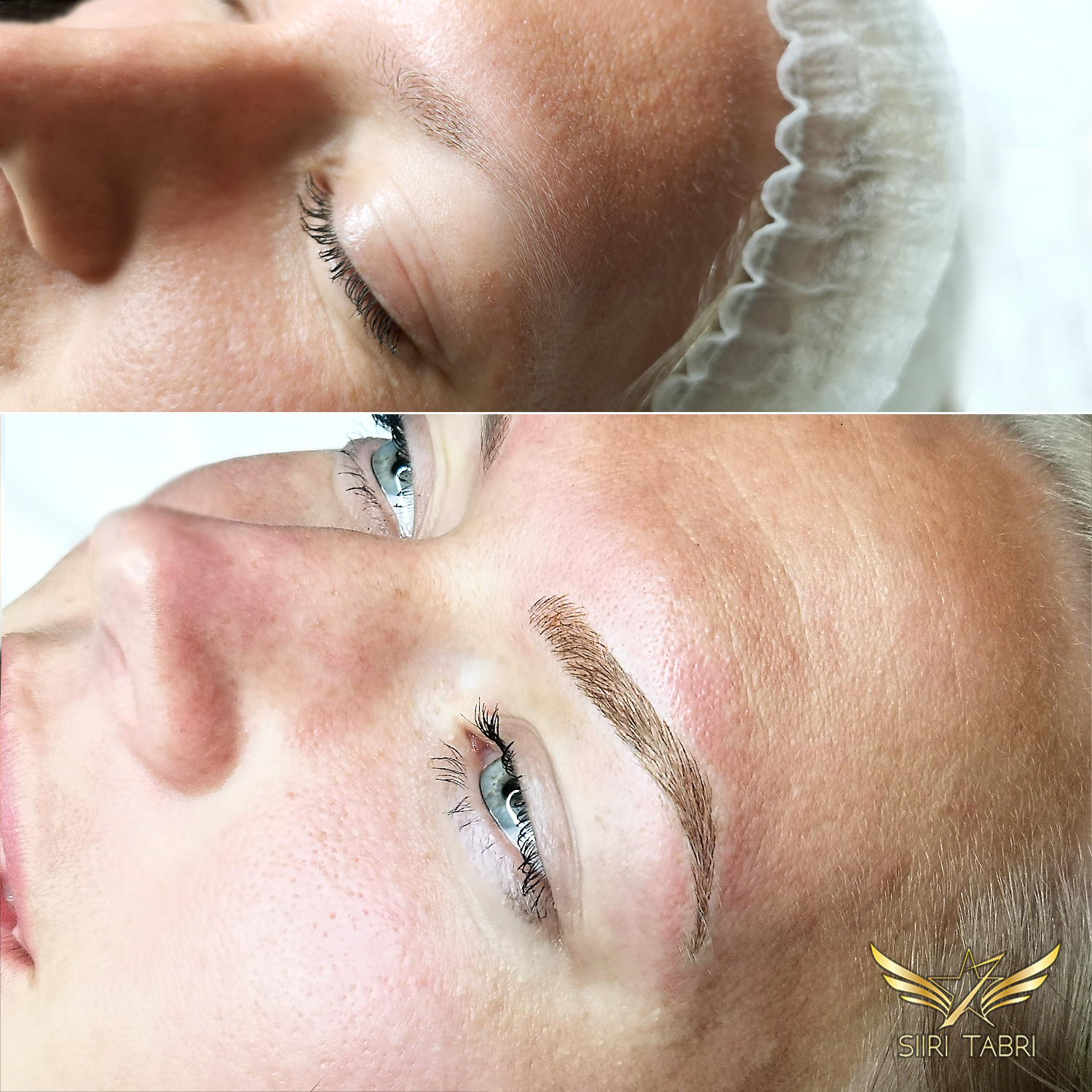 Light microblading. This really weak brow was turned into excellent with Light microblading. The end result looked so natural that other people were convinced it was her natural brow.