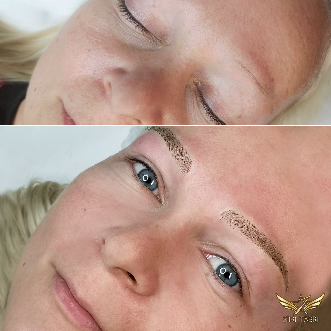 Light microblading. Again, beautiful brows from a small tiny line of hair, that was also a little bit misplaced.