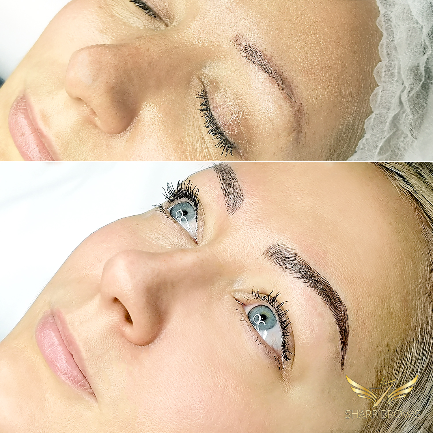 Light microblading. A beautiful lady became stunning after her brow were fixed with Light microblading.