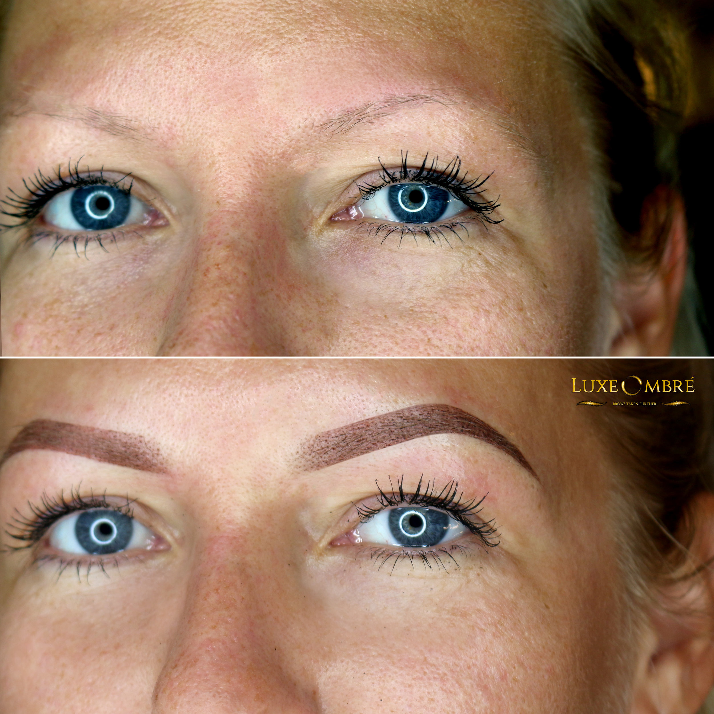 LuxeOmbre brows created on top of weak and thin brows.