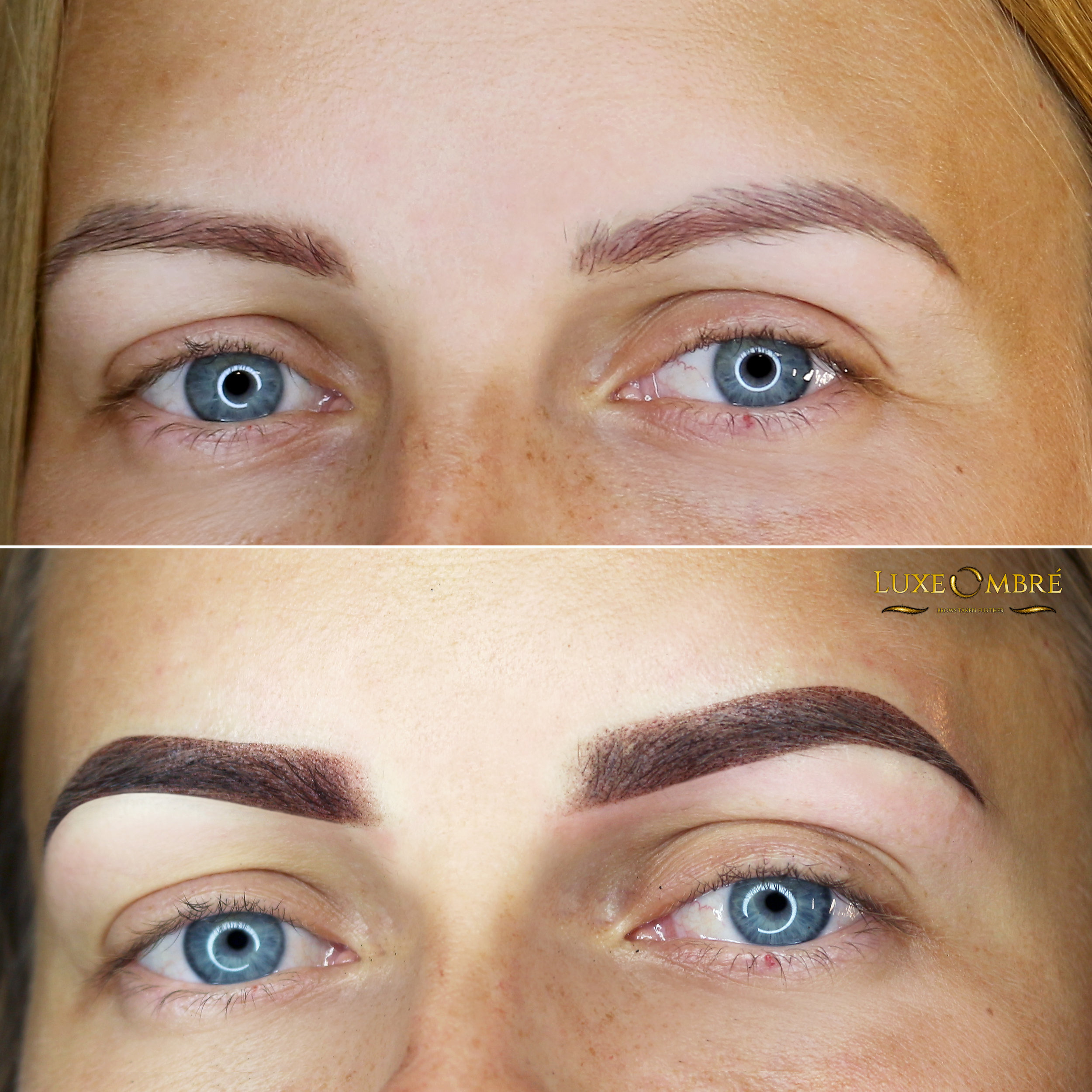 LuxeOmbre brows created on top of old microbladed brows.