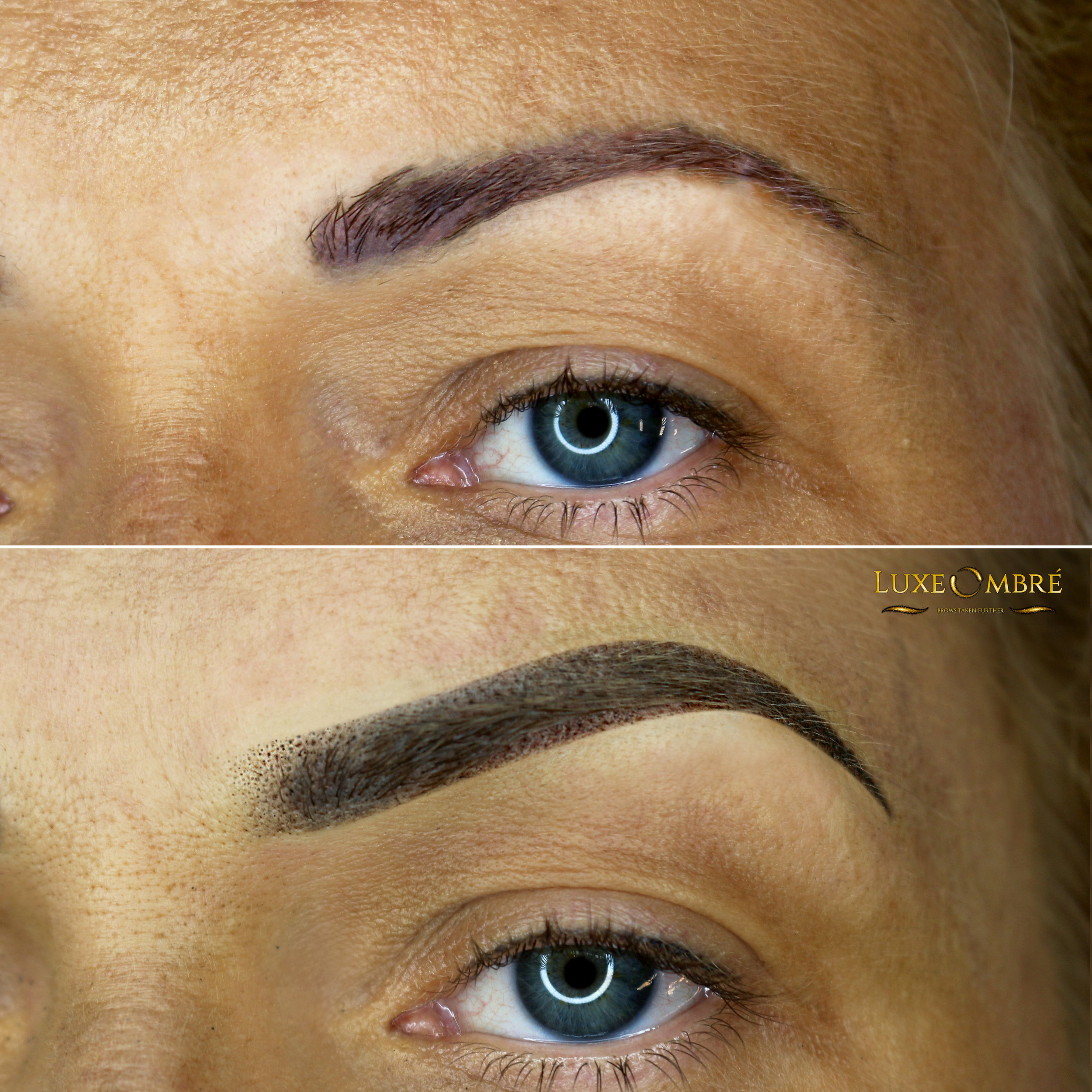 LuxeOmbre brows created on top of old microblading/pigmentation. The shape is changed and the end-result looks natural.