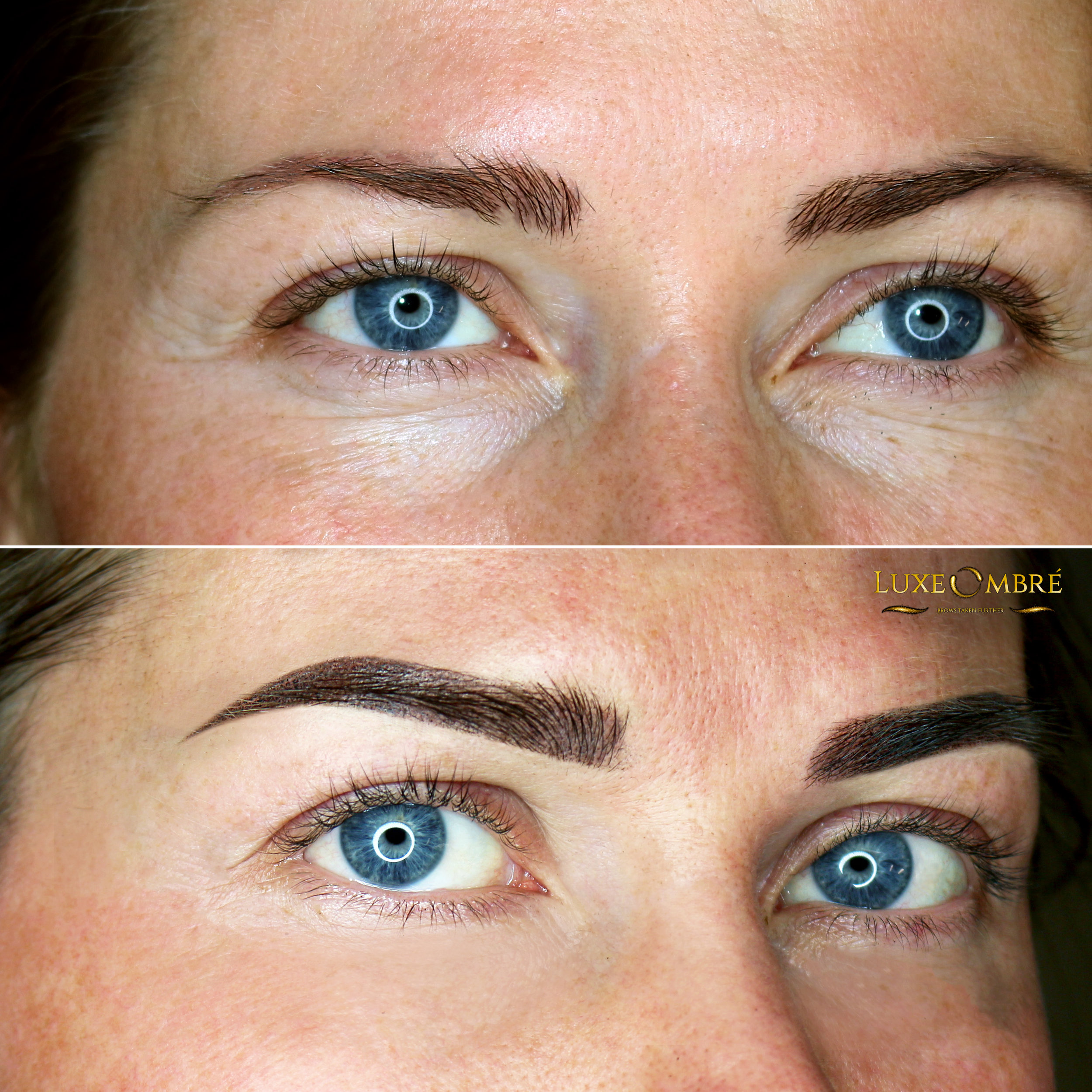 LuxeOmbre brows created on top of old pigmentation on weak brows.