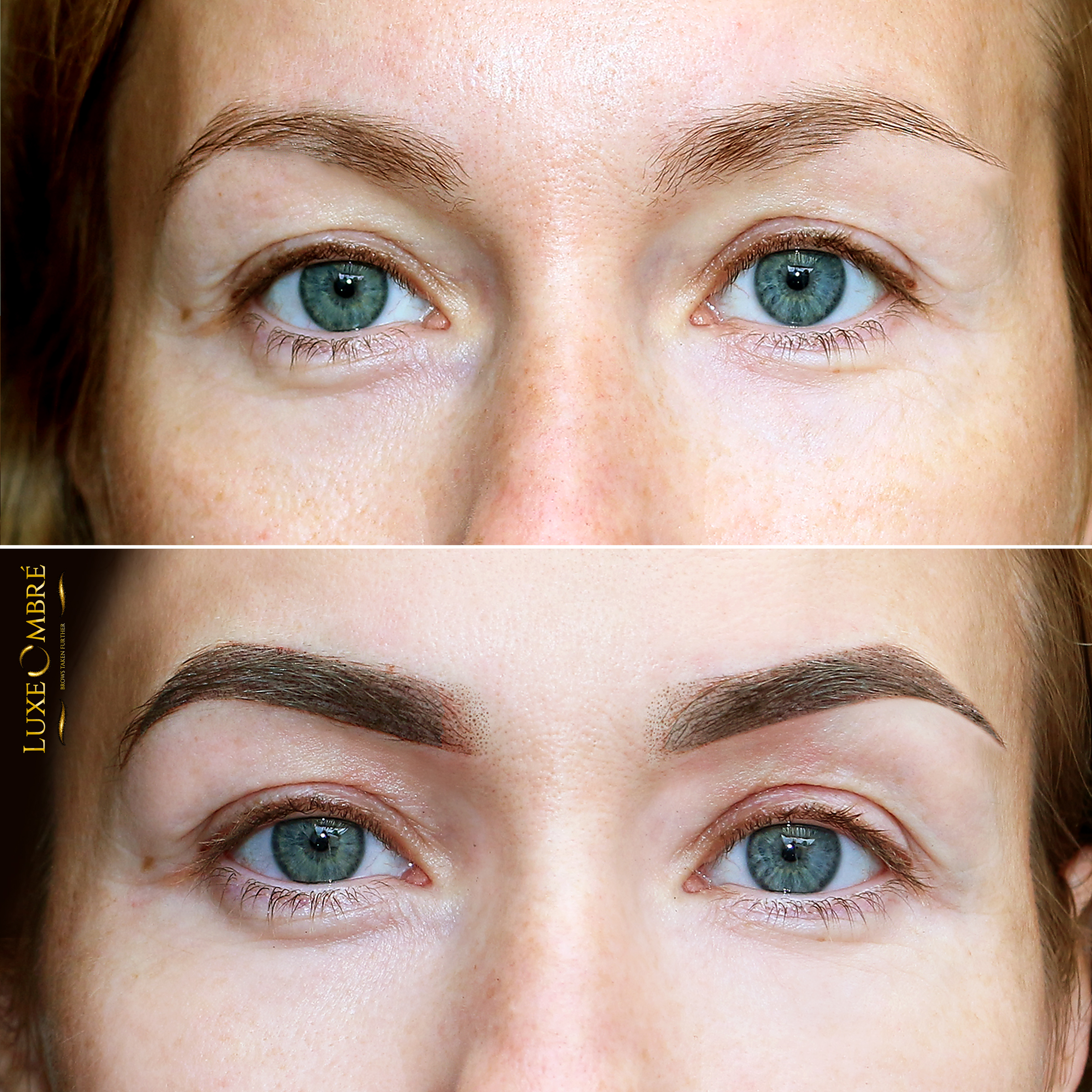 A transformation from ordinary brows to excellence with LuxeOmbre pigmentation.