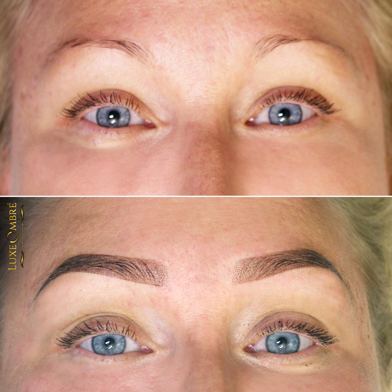 Nice enhancement to weak brows with LuxeOmbre.