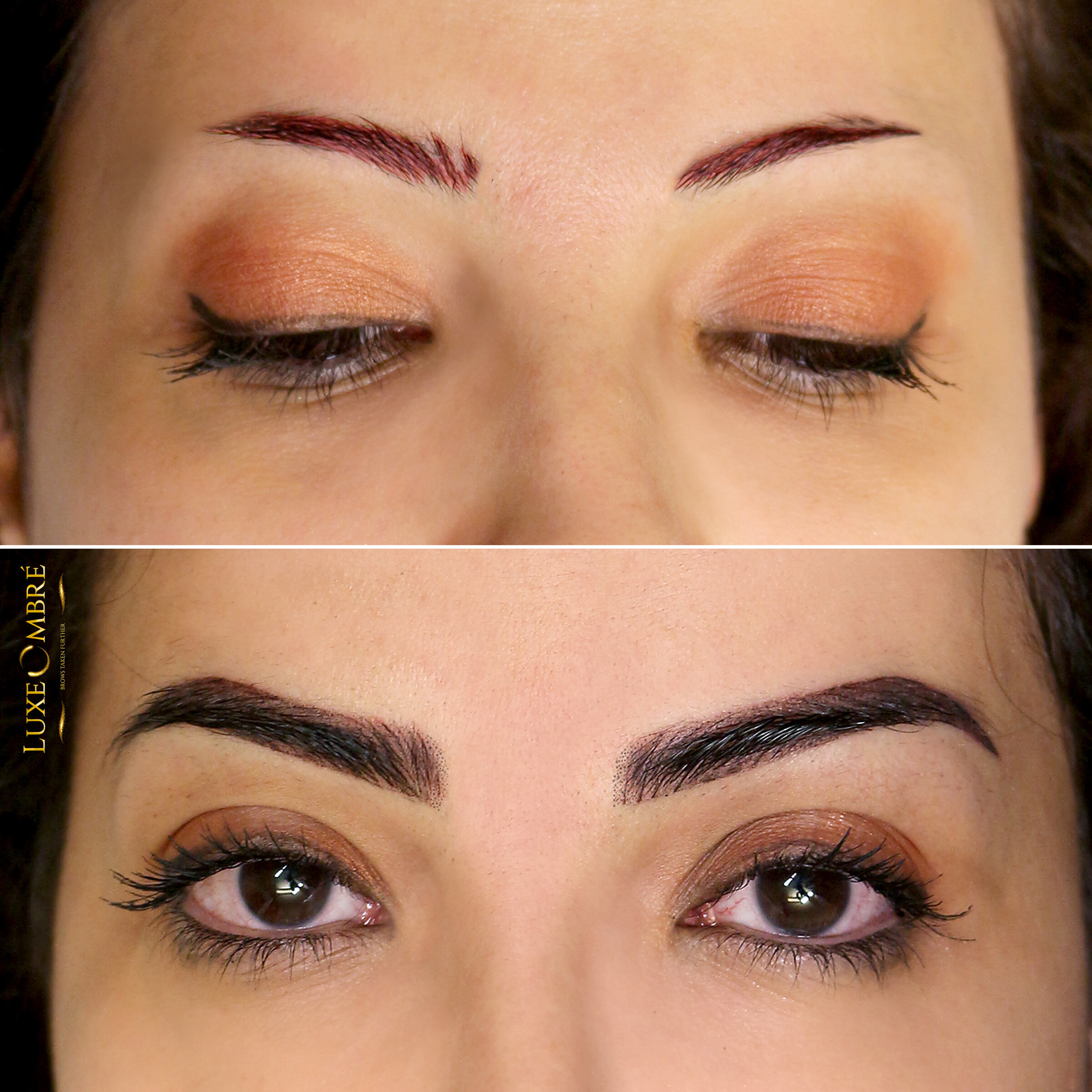 Small brows turned into beautiful with LuxeOmbre.