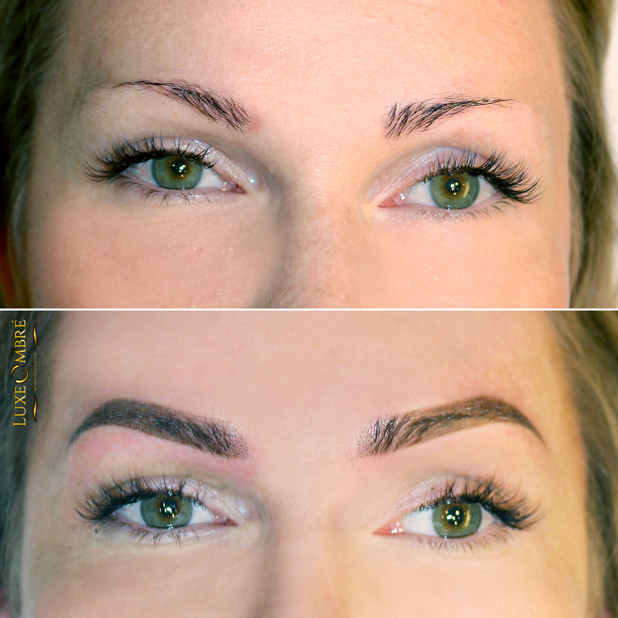 Brows created with Luxe Ombre after one session.