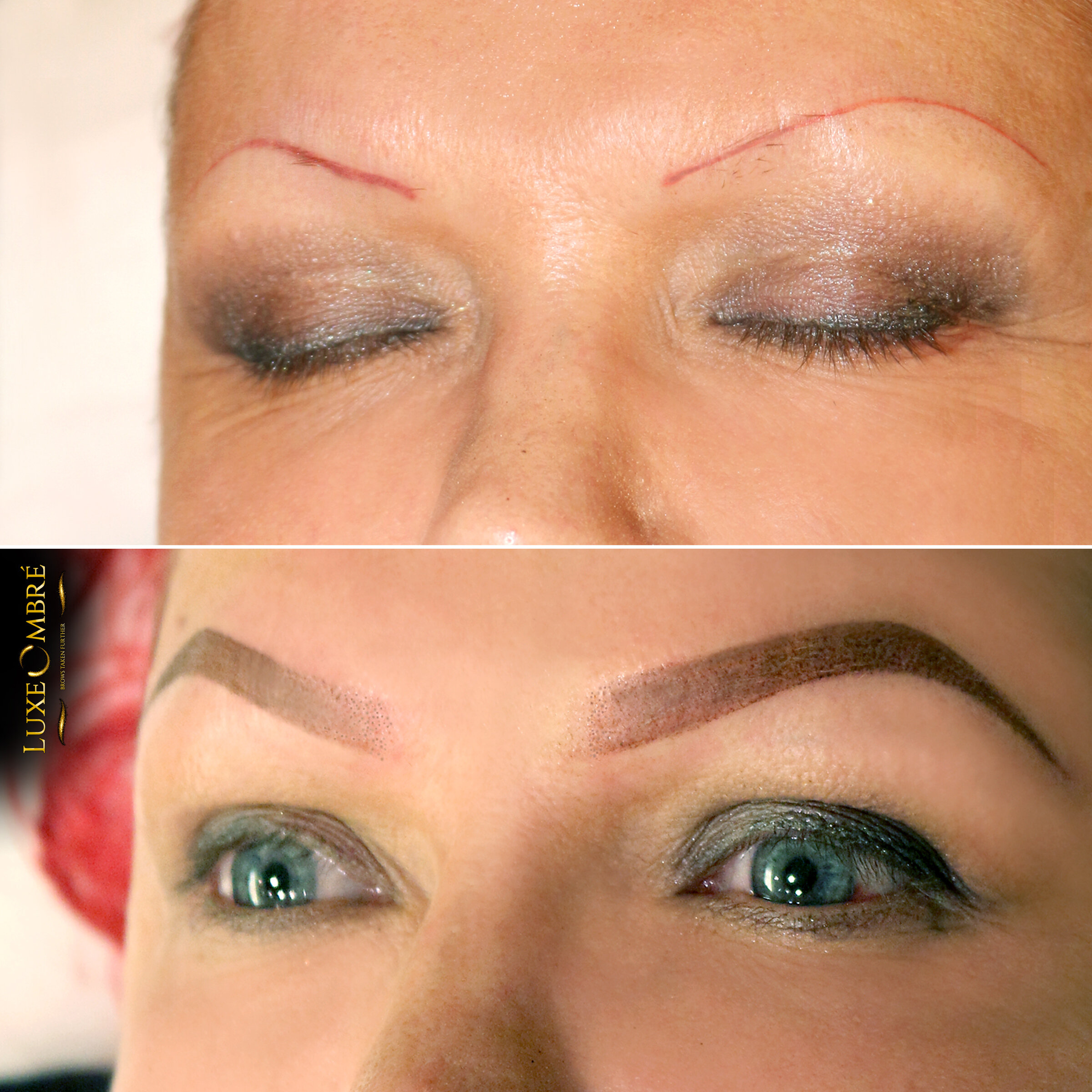 Reddish thin lines turned into a beautiful pair of brows with LuxeOmbre.