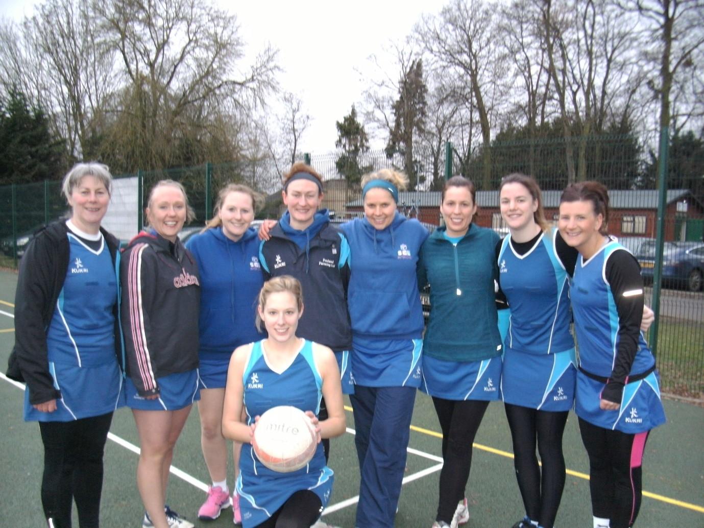 Back row, from the left:Sue, Helen, Hannah, Sarah, Olivia (Captain) Rebecca, Daisy, Kate. Front row: Emma.