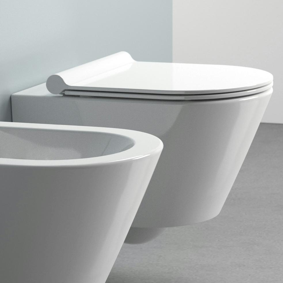 Stilrent vegghengt toalett med skjult festesystem. l:50 b: 35 cm