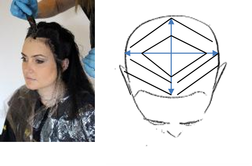 Once each quarter is complete, lastly apply the chosen colour around the perimeter of the hairline to ensure complete coverage. This can be done with the brush or with colour applied to the comb. The comb application will minimise staining around the hairline if using a lower depth. If colouring stubborn or resistant hair, hairline may be applied first. However when using a lightener, hairline MUST be applied last.