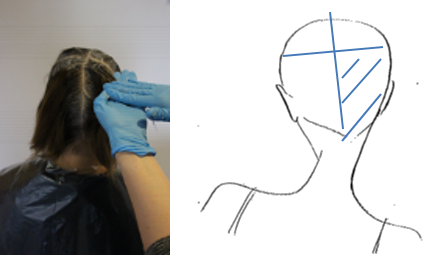 Repeat process to the remaining back section working from the nape to the crown.With a full head colour you should always be working away from the face in order to minimise colour staining on the face or surrounding areas.