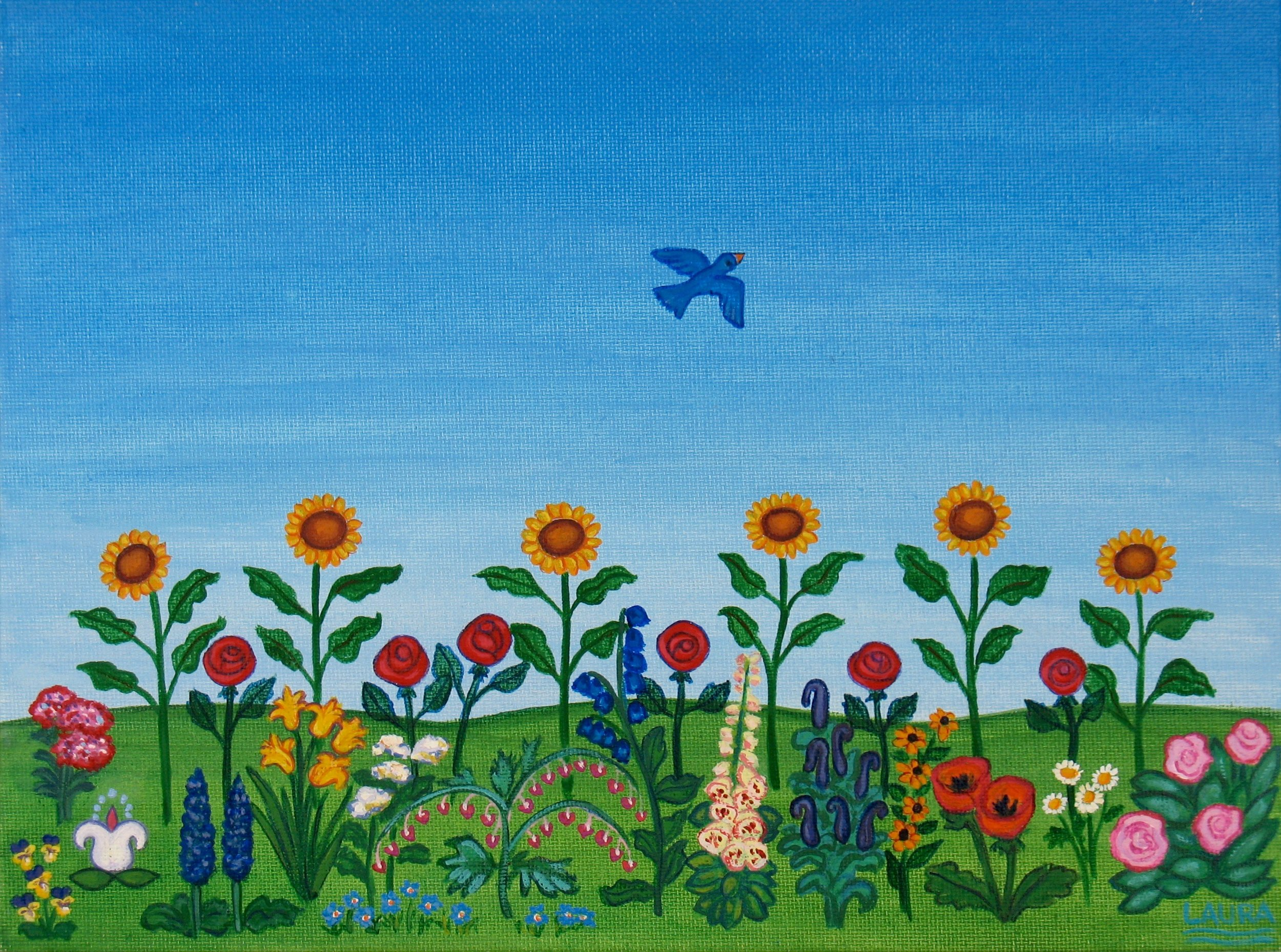 """Garden of Well-being"", acrylic on canvas inspired by a cancer patient's story."