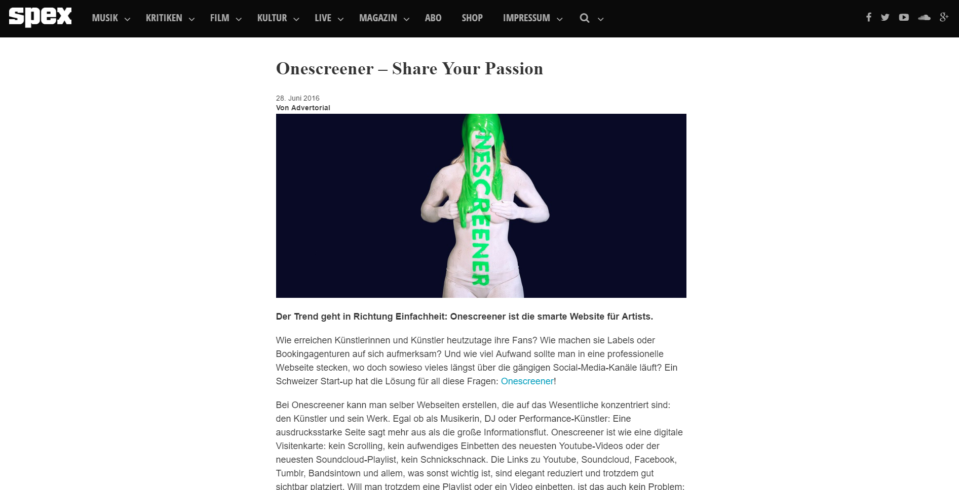 onescreener - share your passion