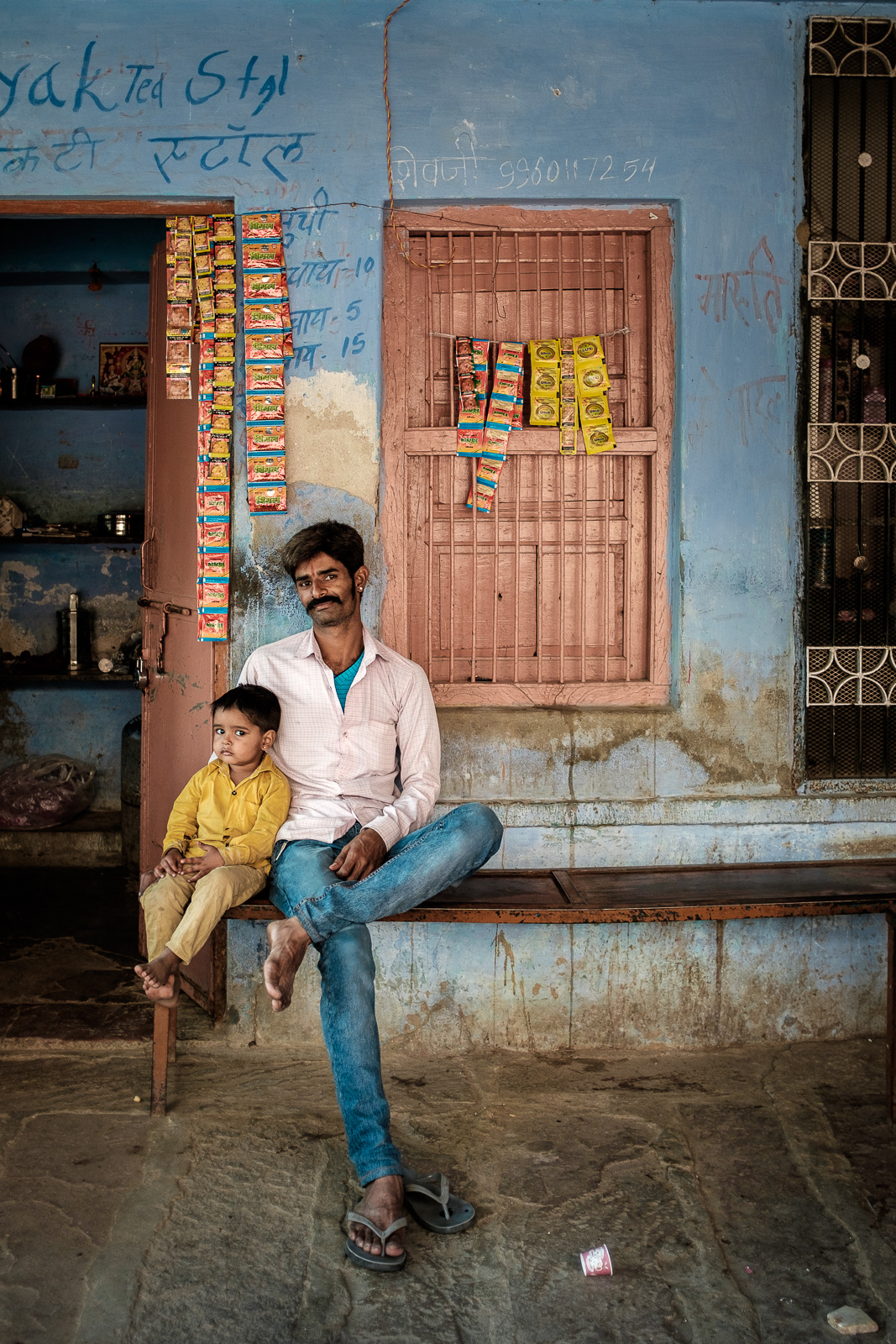 Jojawar, Rajasthan. A chai vendor and his son.