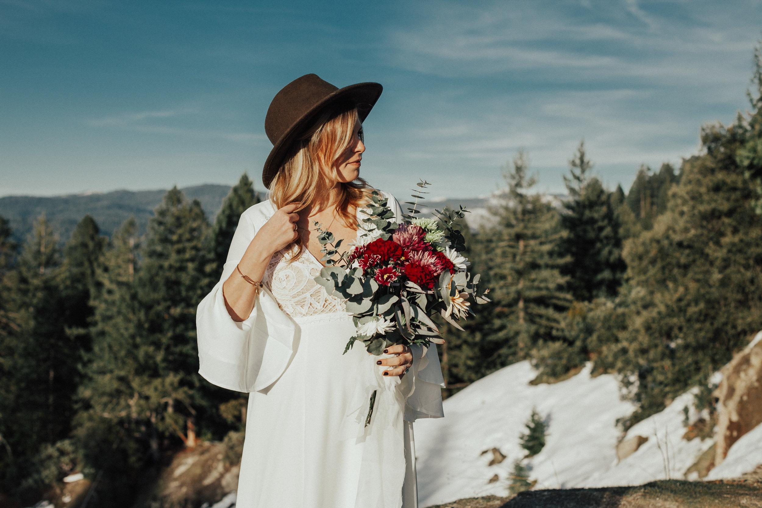 Bridal portrait taken in front of the Sierra Nevada mountains.