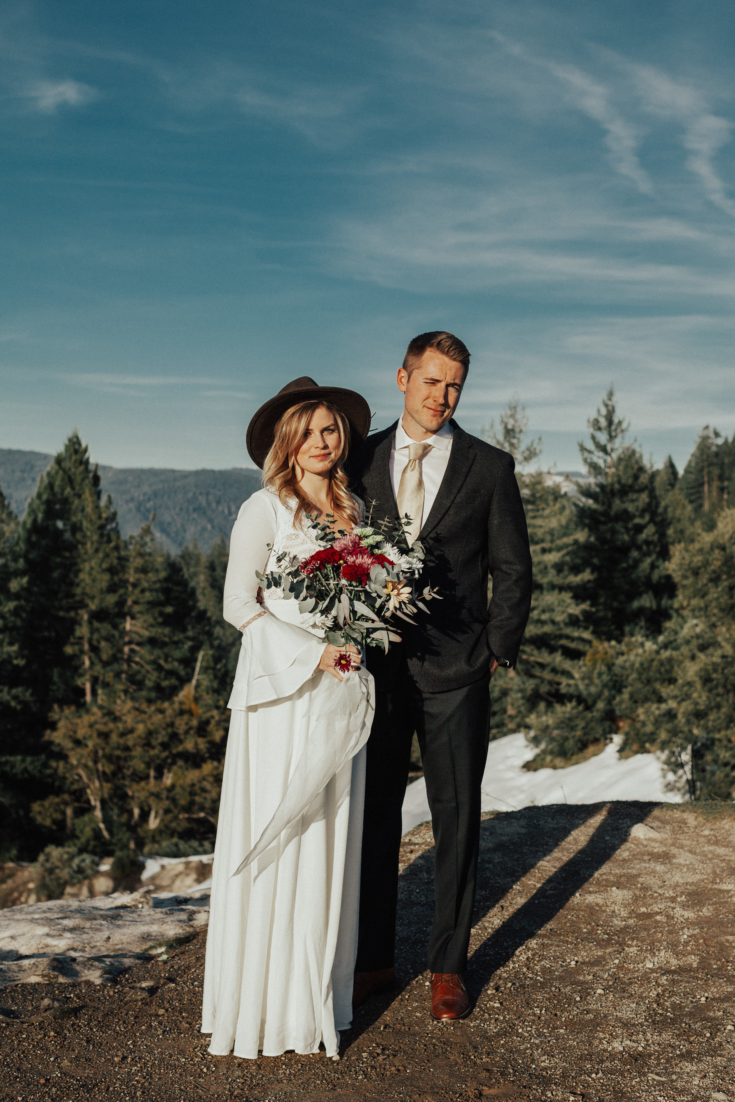 Formal bride and groom portrait. Adventurous couple in the nevada city mountains.