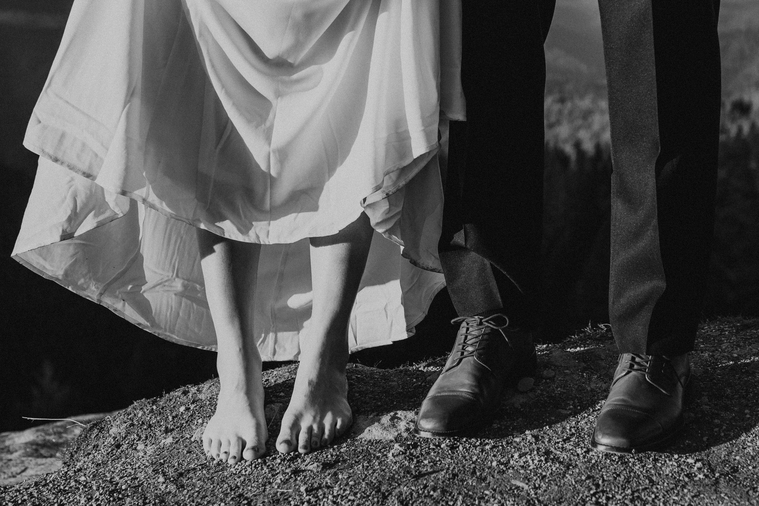 Bride and grooms dirty feet shot after exploring in the mountains after they eloped!