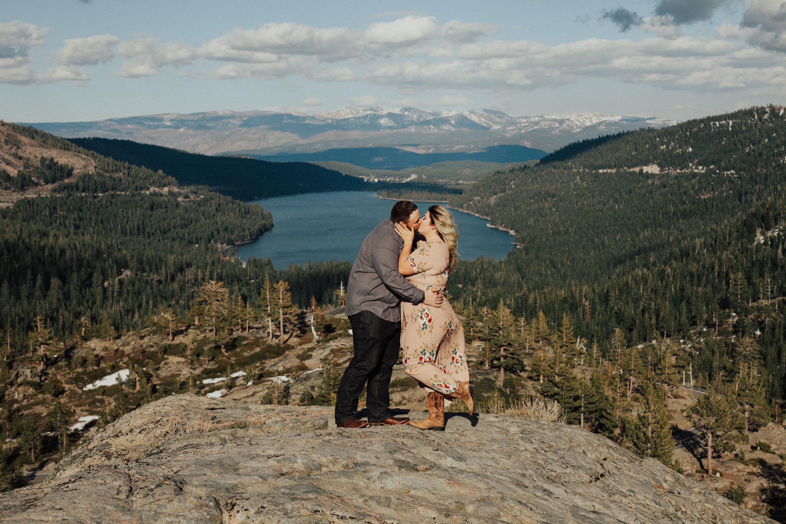 Epic donner Lake engagement photos at vista point.